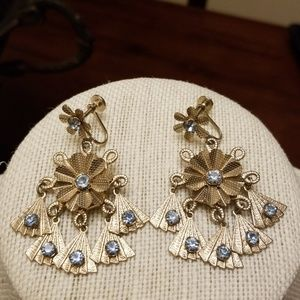 Vtg. Chandelier Screwback Earrings